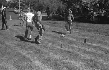 - Bob Marley plays soccer with Dylan Taite at White Heron Hotel, April 1979