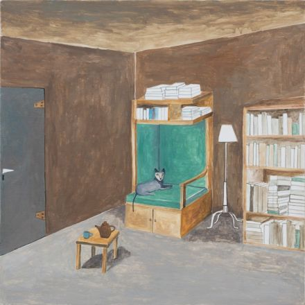 8. Noel McKenna Reading Room Oil on plywood 42 x 44cm 2015 moth 3