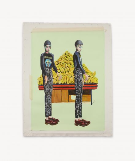 Rob McHaffie Untitled young punk choosing a banana 2016 oil on linen 88 x 69 cm Courtesy of the artist and Darren Knight Gallery