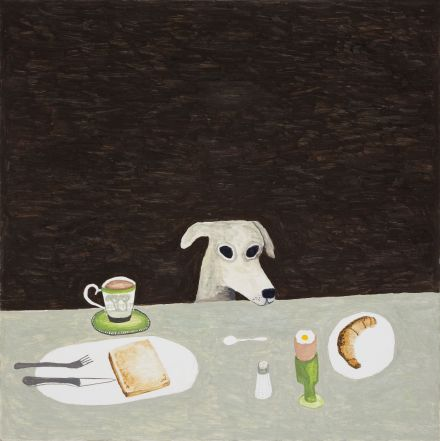 Tall dog at table 2015e