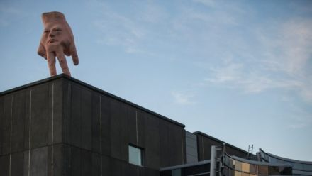 Ronnie van Hout's sculpture installed on roof of Christchurch Art Gallery