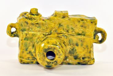 Alan Constable - Not titled (yellow with green spots SLR camera)