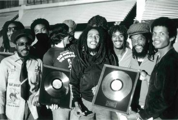 - Bob Marley and The Wailers receive Gold Discs, poolside White Heron Hotel after concert, April 16 1979