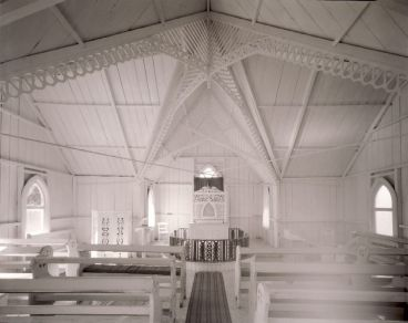 Laurence Aberhart - Interior #1, Anglican church, Pawarenga Peninsula, Whangape Harbour, Northland, 10 May 1982