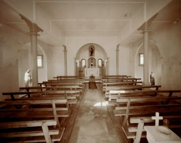 Laurence Aberhart - Interior #1, Catholic church, Lower Waihou, Hokianga Harbour, Northland, 3 May 1982