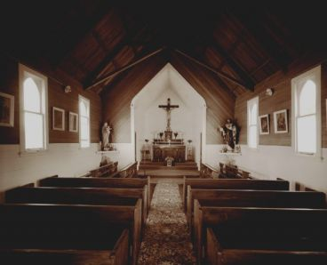 Laurence Aberhart - Interior, Catholic church, Mitimiti, Northland, 3 May 1982