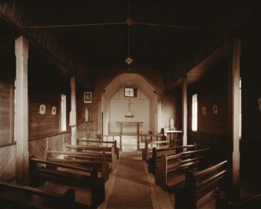 Laurence Aberhart - Interior, Catholic church, Rawene, Hokianga Harbour, Northland, 23 April 1982