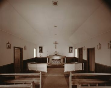 Laurence Aberhart - Interior, Mrs Peri's church, Pawarenga, Whangape Harbour, 4 May 1982