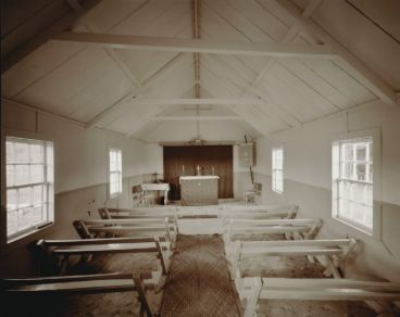 Laurence Aberhart - Interior, St Mark's Anglican church, Oturu, Northland, 13 May 1982