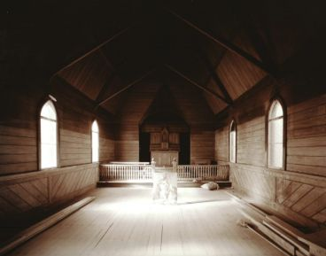 Laurence Aberhart - Interior, St. Gabriel's Catholic church, Pawarenga, Whangape Harbour, 10 May 1982