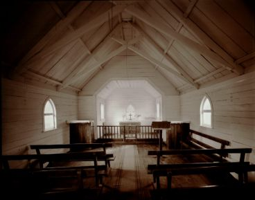 Laurence Aberhart - Interior, St. James Anglican Church, Matingarau, near Kaeo, Northland, 20 May 1982