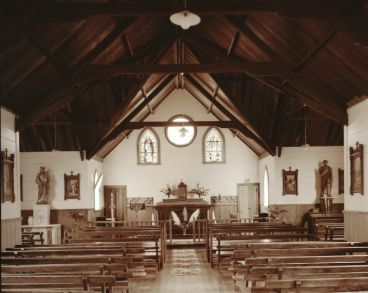 Laurence Aberhart - Interior,  catholic church, Pangaru, Hokianga Harbour,  Northland, 3 May 1982