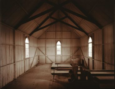Laurence Aberhart - Interior, church, Maraeroa, Hokianga Harbour, Northland, 2 May 1982