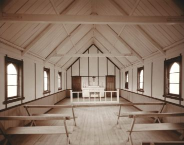 Laurence Aberhart - Interior, family church, Epikauri, Northland, 5 May 1982