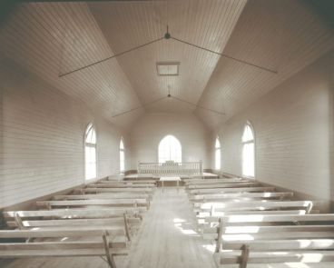 Laurence Aberhart - Interior, family church [Methodist], Whirinaki, Hokianga Harbour, Northland, 23 April 1982
