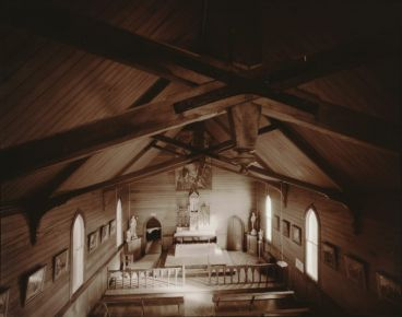 Laurence Aberhart - Interior, from upstairs gallery, Catholic church, Motukaraka, Hokianga Harbour, 3 May 1982.