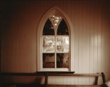 Laurence Aberhart - Interior, window, church, Maitahi, Northland, 22 April 1982
