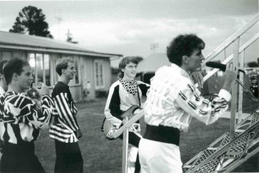 "- Split Enz, Te Awamutu Rugby Club Park, January 1984. Tim starts first song ""Haul Away"" (""I was born in Te Awamutu…"")"